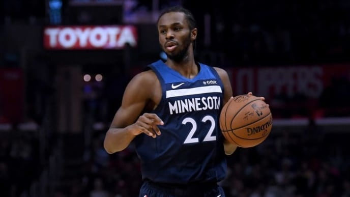 LOS ANGELES, CA - NOVEMBER 05:  Andrew Wiggins #22 of the Minnesota Timberwolves dribbles during a 120-109 LA Clippers win at Staples Center on November 5, 2018 in Los Angeles, California.  (Photo by Harry How/Getty Images)