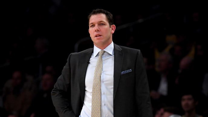 LOS ANGELES, CALIFORNIA - JANUARY 24:  Luke Walton of the Los Angeles Lakers watches play during the first half against the Minnesota Timberwolves at Staples Center on January 24, 2019 in Los Angeles, California. (Photo by Harry How/Getty Images)