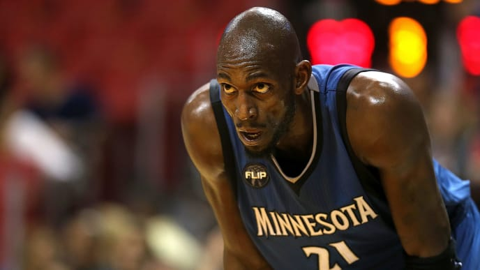 MIAMI, FL - NOVEMBER 17:  Kevin Garnett #21 of the Minnesota Timberwolves looks on during a game against the Miami Heat at American Airlines Arena on November 17, 2015 in Miami, Florida. NOTE TO USER: User expressly acknowledges and agrees that, by downloading and/or using this photograph, user is consenting to the terms and conditions of the Getty Images License Agreement. Mandatory copyright notice:  (Photo by Mike Ehrmann/Getty Images)