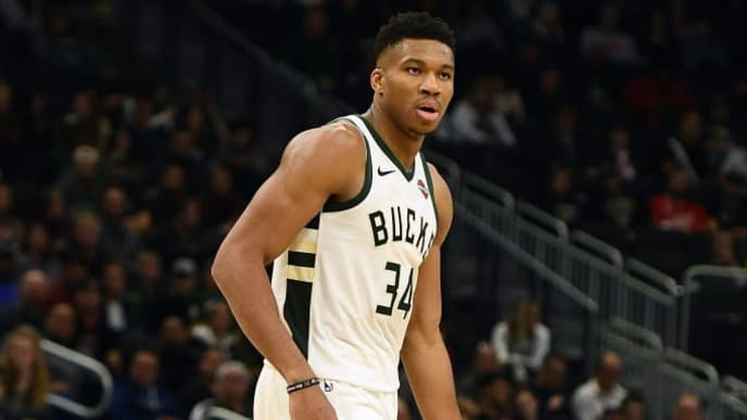 MILWAUKEE, WISCONSIN - OCTOBER 17: Giannis Antetokounmpo #34 of the Milwaukee Bucks handles the ball during a game against the Minnesota Timberwolves at Fiserv Forum on October 17, 2019 in Milwaukee, Wisconsin. NOTE TO USER: User expressly acknowledges and agrees that, by downloading and or using this photograph, User is consenting to the terms and conditions of the Getty Images License Agreement. (Photo by Stacy Revere/Getty Images)
