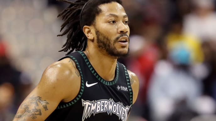 WASHINGTON, DC - MARCH 03: Derrick Rose #25 of the Minnesota Timberwolves dribbles the ball against the Washington Wizards in the first half at Capital One Arena on March 03, 2019 in Washington, DC. NOTE TO USER: User expressly acknowledges and agrees that, by downloading and or using this photograph, User is consenting to the terms and conditions of the Getty Images License Agreement. (Photo by Rob Carr/Getty Images)