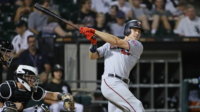 CHICAGO, ILLINOIS - JULY 25: Max Kepler #26 of the Minnesota Twins bats against the Chicago White Sox at Guaranteed Rate Field on July 25, 2019 in Chicago, Illinois. The Twins defeated the White Sox 10-3. (Photo by Jonathan Daniel/Getty Images)
