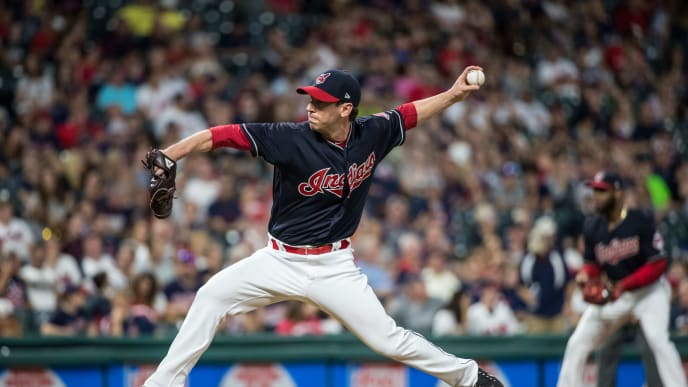 CLEVELAND, OH- SEPTEMBER 26: Craig Breslow #40 of the Cleveland Indians pitches against the Minnesota Twins on September 26, 2017 at Progressive Field in Cleveland, Ohio. The Twins defeated the Indians 8-6. (Photo by Brace Hemmelgarn/Minnesota Twins/Getty Images)