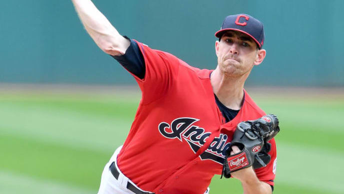 CLEVELAND, OHIO - SEPTEMBER 15: Starter Shane Bieber #57 of the Cleveland Indians pitches during the first inning against the Minnesota Twins at Progressive Field on September 15, 2019 in Cleveland, Ohio. (Photo by Jason Miller/Getty Images)