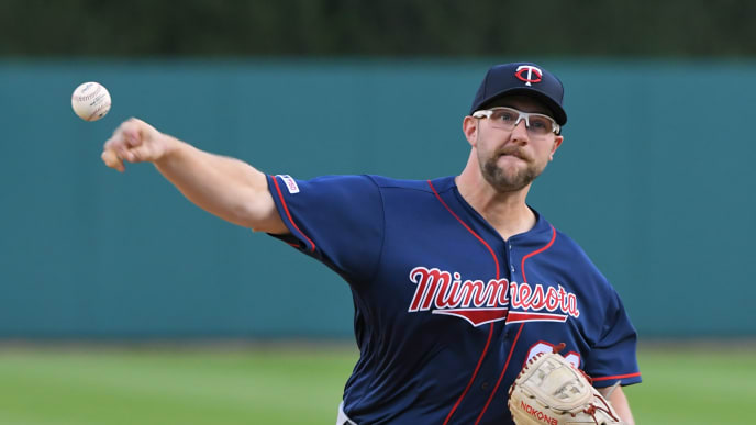 DETROIT, MI - SEPTEMBER 25:  Randy Dobnak #68 of the Minnesota Twins throws a warm-up pitch during the game against the Detroit Tigers at Comerica Park on September 25, 2019 in Detroit, Michigan. The Twins defeated the Tigers 5-1.  (Photo by Mark Cunningham/MLB Photos via Getty Images)