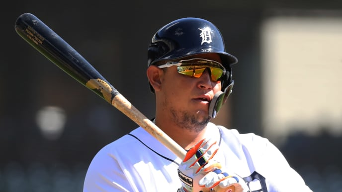 DETROIT, MICHIGAN - SEPTEMBER 26: Miguel Cabrera #24 of the Detroit Tigers prepares to bat in the second inning while playing the Minnesota Twins at Comerica Park on September 26, 2019 in Detroit, Michigan. (Photo by Gregory Shamus/Getty Images)