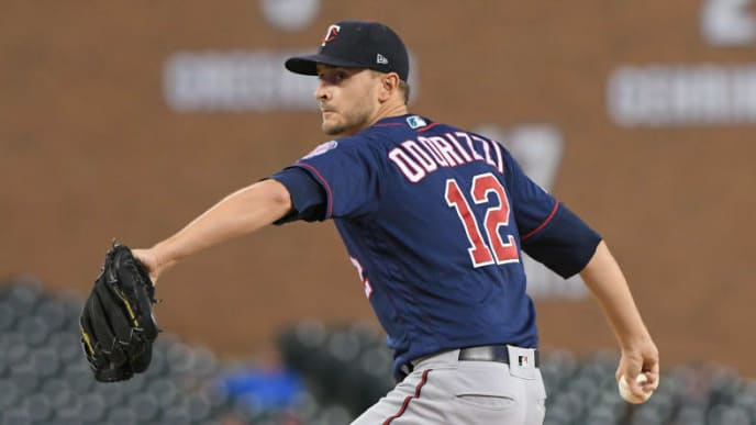 DETROIT, MI - SEPTEMBER 24:  Jake Odorizzi #12 of the Minnesota Twins pitches during the game against the Detroit Tigers at Comerica Park on September 24, 2019 in Detroit, Michigan. The Twins defeated the Tigers 4-2.  (Photo by Mark Cunningham/MLB Photos via Getty Images)