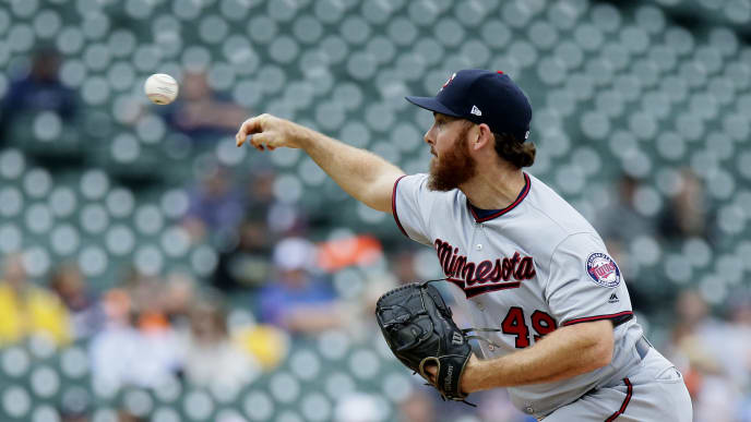 DETROIT, MI - SEPTEMBER 01:  Sam Dyson #49 of the Minnesota Twins pitches against the Detroit Tigers at Comerica Park on September 1, 2019 in Detroit, Michigan. (Photo by Duane Burleson/Getty Images)