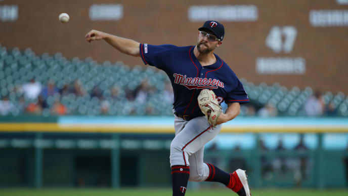DETROIT, MICHIGAN - SEPTEMBER 25: Randy Dobnak #68 of the Minnesota Twins throws a first inning pitch while playing the Detroit Tigers at Comerica Park on September 25, 2019 in Detroit, Michigan. (Photo by Gregory Shamus/Getty Images)