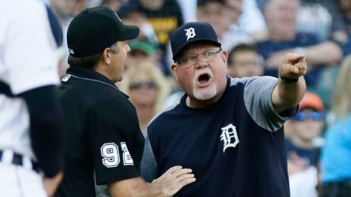 DETROIT, MI - JUNE 7:  Manager Ron Gardenhire #15 of the Detroit Tigers argues with home plate umpire James Hoye #92 after a balk was called against Tigers pitcher Matthew Boyd during the third inning at Comerica Park on June 7, 2019 in Detroit, Michigan. (Photo by Duane Burleson/Getty Images)