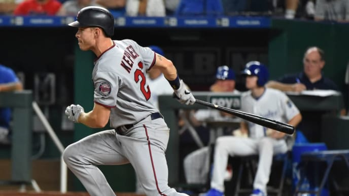 KANSAS CITY, MISSOURI - JUNE 21:  Max Kepler #26 of the Minnesota Twins hits a RBI single in the eighth inning against the Kansas City Royals at Kauffman Stadium on June 21, 2019 in Kansas City, Missouri. (Photo by Ed Zurga/Getty Images)