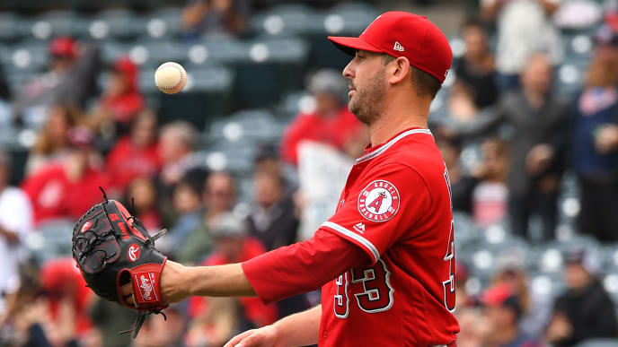ANAHEIM, CA - MAY 23: Matt Harvey #33 of the Los Angeles Angels of Anaheim tosses the ball in his glove after giving up a three run home run to Jonathan Schoop #16 of the Minnesota Twins in the second inning of the game at Angel Stadium of Anaheim on May 23, 2019 in Anaheim, California. (Photo by Jayne Kamin-Oncea/Getty Images)
