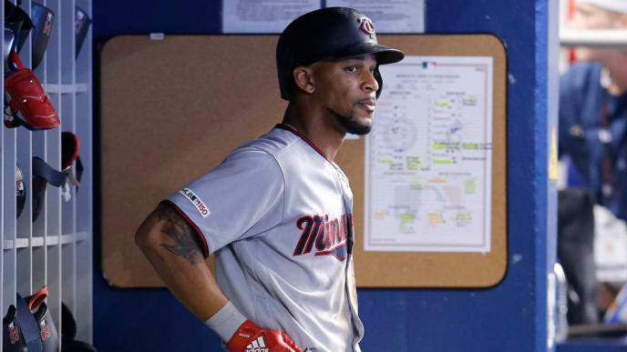 MIAMI, FLORIDA - AUGUST 01:  Byron Buxton #25 of the Minnesota Twins looks on from the dugout against the Miami Marlins at Marlins Park on August 01, 2019 in Miami, Florida. (Photo by Michael Reaves/Getty Images)