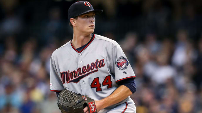 MILWAUKEE, WISCONSIN - AUGUST 14:  Kyle Gibson #44 of the Minnesota Twins pitches in the second inning against the Milwaukee Brewers at Miller Park on August 14, 2019 in Milwaukee, Wisconsin. (Photo by Dylan Buell/Getty Images)