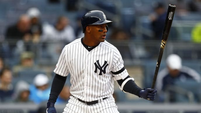 NEW YORK, NY - MAY 05: Miguel Andujar #41 of the New York Yankees at bat against the Minnesota Twins during the first inning at Yankee Stadium on May 5, 2019 in the Bronx borough of New York City. (Photo by Adam Hunger/Getty Images)