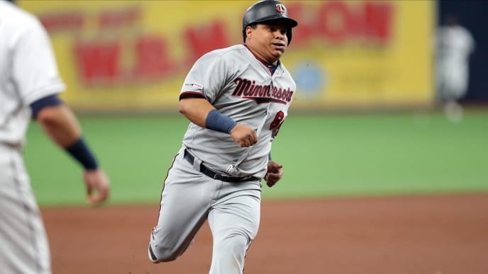 ST. PETERSBURG, FL - MAY 31: Willians Astudillo #64 of the Minnesota Twins rounds third base in the first inning of a baseball game against the Tampa Bay Rays at Tropicana Field on May 31, 2019 in St. Petersburg, Florida. (Photo by Mike Carlson/Getty Images)
