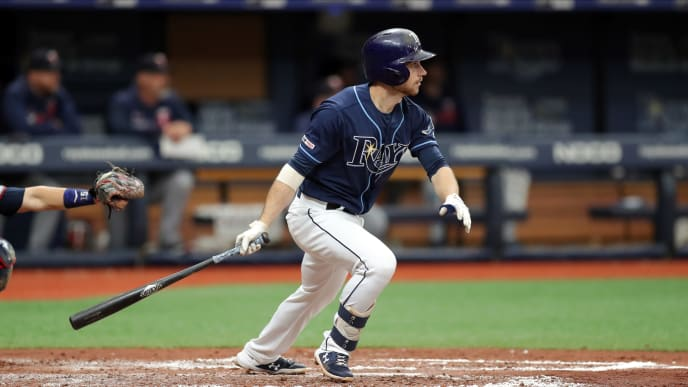 ST. PETERSBURG, FL - JUNE 1: Brandon Lowe #8 of the Tampa Bay Rays follows though on a double in the third inning of a baseball game against the Minnesota Twins at Tropicana Field on June 1, 2019 in St. Petersburg, Florida. (Photo by Mike Carlson/Getty Images)
