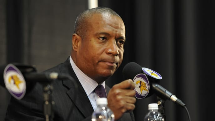 EDEN PRAIRIE, MN - SEPTEMBER 17: Vice President of Legal Affairs Kevin Warren of the Minnesota Vikings speaks to the media during a press conference on September 17, 2014 at Winter Park in Eden Prairie, Minnesota. The Vikings addressed their decision to put Adrian Peterson on the commissioner's exempt list until Peterson's child-abuse case has been resolved. (Photo by Hannah Foslien/Getty Images)