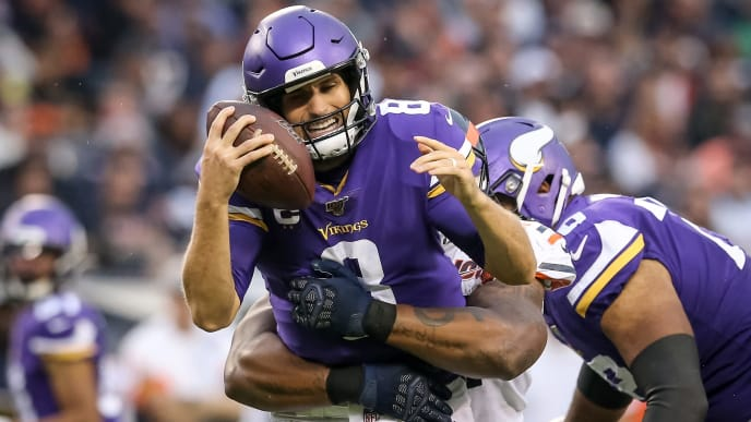 CHICAGO, ILLINOIS - SEPTEMBER 29:  Nick Williams #97 of the Chicago Bears sacks Kirk Cousins #8 of the Minnesota Vikings in the third quarter at Soldier Field on September 29, 2019 in Chicago, Illinois. (Photo by Dylan Buell/Getty Images)