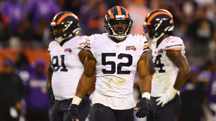 CHICAGO, ILLINOIS - SEPTEMBER 29:  Khalil Mack #52 of the Chicago Bears looks to the sideline during a game against the Minnesota Vikings at Soldier Field on September 29, 2019 in Chicago, Illinois. The Bears defeated the Vikings 16-6.  (Photo by Stacy Revere/Getty Images)