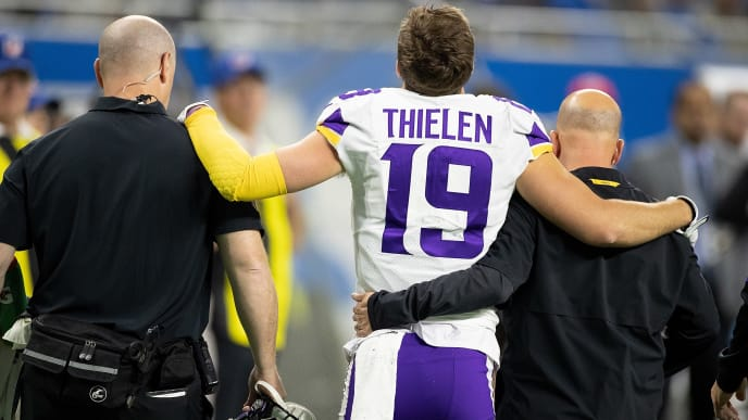DETROIT, MI - OCTOBER 20: Adam Thielen #19 of the Minnesota Vikings leaves the field after making a touchdown catch during the first quarter of the game against the Detroit Lions at Ford Field on October 20, 2019 in Detroit, Michigan. (Photo by Leon Halip/Getty Images)