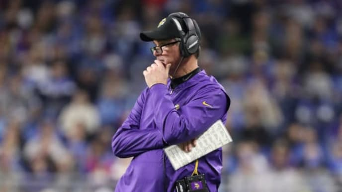 DETROIT, MI - DECEMBER 23: Head coach Mike Zimmer of the Minnesota Vikings looks on during the game against the Detroit Lions at Ford Field on December 23, 2018 in Detroit, Michigan. (Photo by Leon Halip/Getty Images)