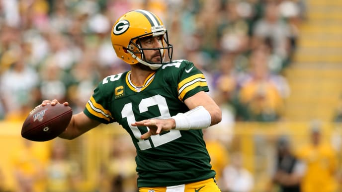 GREEN BAY, WISCONSIN - SEPTEMBER 15: Quarterback Aaron Rodgers #12 of the Green Bay Packers throws a pass against the Minnesota Vikings in the first quarter during the game at Lambeau Field on September 15, 2019 in Green Bay, Wisconsin. (Photo by Dylan Buell/Getty Images)