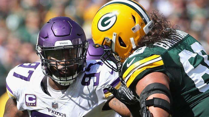 GREEN BAY, WI - SEPTEMBER 16:  Everson Griffen #97 of the Minnesota Vikings rushes against David Bakhtiari #69 of the Green Bay Packers at Lambeau Field on September 16, 2018 in Green Bay, Wisconsin. The Vikings and the Packers tied 29-29 after overtime.  (Photo by Jonathan Daniel/Getty Images)