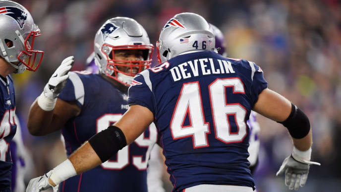 FOXBOROUGH, MA - DECEMBER 02:  James Develin #46 of the New England Patriots reacts after scoring a touchdown during the first quarter against the Minnesota Vikings at Gillette Stadium on December 2, 2018 in Foxborough, Massachusetts.  (Photo by Billie Weiss/Getty Images)