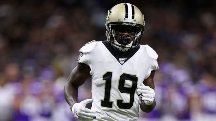 NEW ORLEANS, LOUISIANA - AUGUST 09: Ted Ginn #19 of the New Orleans Saints during a preseason  game at the Mercedes Benz Superdome on August 09, 2019 in New Orleans, Louisiana. (Photo by Chris Graythen/Getty Images)