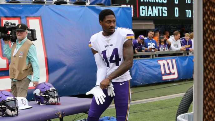 EAST RUTHERFORD, NEW JERSEY - OCTOBER 06: Wide Receiver Stefon Diggs #14 of the Minnesota Vikings follows the action against the New York Giants during the second half at MetLife Stadium on October 06, 2019 in East Rutherford, New Jersey. (Photo by Al Pereira/Getty Images)