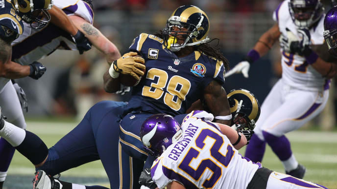 ST. LOUIS, MO - DECEMBER 16: Steven Jackson #39 of the St. Louis Rams is tackled by Chad Greenway #52 of the Minnesota Vikings at the Edward Jones Dome on December 16, 2012 in St. Louis, Missouri.  (Photo by Dilip Vishwanat/Getty Images)