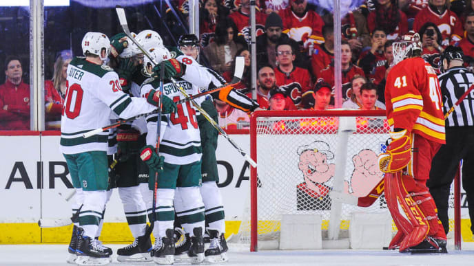 CALGARY, AB - MARCH 2: Eric Staal #12 of the Minnesota Wild celebrates with his teammates after scoring against the Calgary Flames  during an NHL game at Scotiabank Saddledome on March 2, 2019 in Calgary, Alberta, Canada. (Photo by Derek Leung/Getty Images)