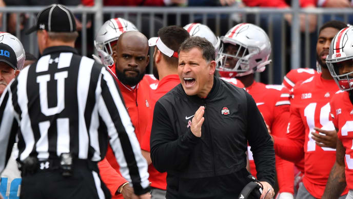 COLUMBUS, OH - OCTOBER 13:  Defensive Coordinator Greg Schiano of the Ohio State Buckeyes pleads a call with the umpire in the second quarter against the Minnesota Gophers at Ohio Stadium on October 13, 2018 in Columbus, Ohio.  (Photo by Jamie Sabau/Getty Images)