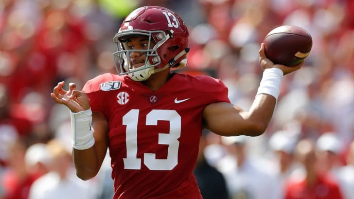 TUSCALOOSA, ALABAMA - SEPTEMBER 28:  Tua Tagovailoa #13 of the Alabama Crimson Tide looks to pass against the Mississippi Rebels at Bryant-Denny Stadium on September 28, 2019 in Tuscaloosa, Alabama. (Photo by Kevin C. Cox/Getty Images)