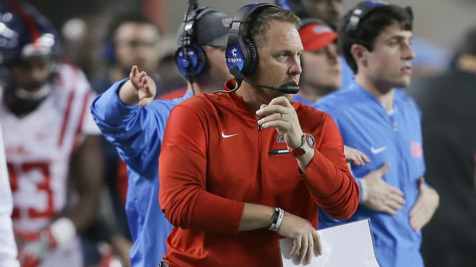 COLLEGE STATION, TX - NOVEMBER 12:  Head coach Hugh Freeze of the Mississippi Rebels looks on from the sidelines against the Texas A&M Aggies  at Kyle Field on November 12, 2016 in College Station, Texas.  (Photo by Bob Levey/Getty Images)