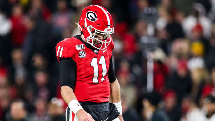 ATHENS, GA - NOVEMBER 09: Jake Fromm #11 of the Georgia Bulldogs looks on during a game against the Missouri Tigers at Sanford Stadium on November 9, 2019 in Athens, Georgia. (Photo by Carmen Mandato/Getty Images)