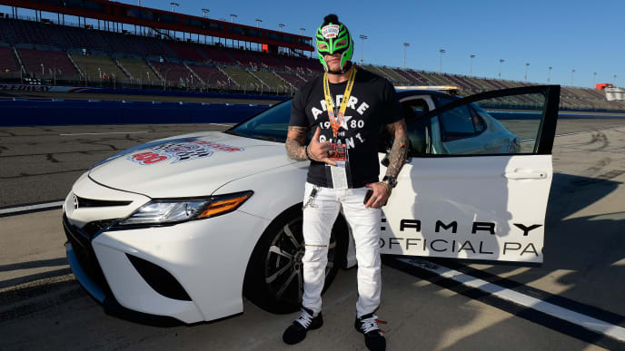 FONTANA, CA - MARCH 17:  Professional wrestler Rey Mysterio attends pace car training during the Monster Energy NASCAR Cup Series Auto Club 400 at Auto Club Speedway on March 17, 2019 in Fontana, California.  (Photo by Robert Laberge/Getty Images)