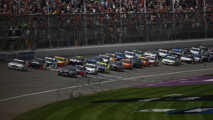 BROOKLYN, MICHIGAN - AUGUST 11: Brad Keselowski, driver of the #2 Discount Tire Ford, leads a pack of cars during the Monster Energy NASCAR Cup Series Consumers Energy 400 at Michigan International Speedway on August 11, 2019 in Brooklyn, Michigan. (Photo by Stacy Revere/Getty Images)