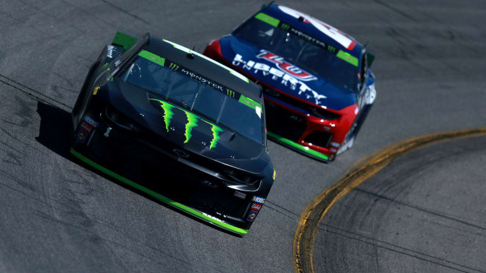 RICHMOND, VIRGINIA - SEPTEMBER 20: Kurt Busch, driver of the #1 Monster Energy Chevrolet, races William Byron, driver of the #24 Liberty University Chevrolet, during practice for the Monster Energy NASCAR Cup Series Federated Auto Parts 400 at Richmond Raceway on September 20, 2019 in Richmond, Virginia. (Photo by Sean Gardner/Getty Images)
