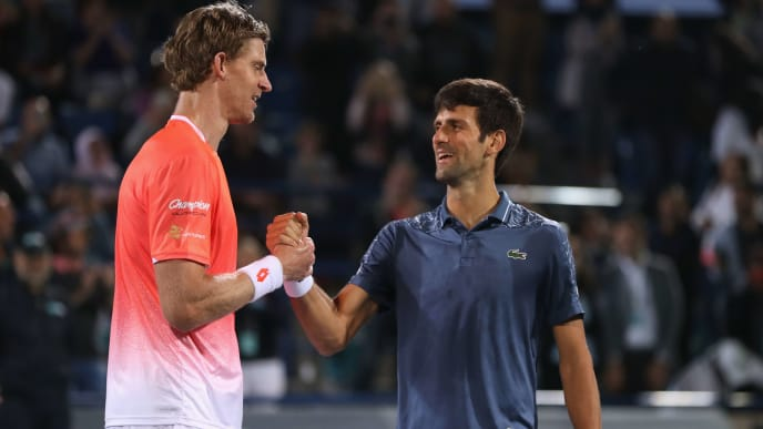 ABU DHABI, UNITED ARAB EMIRATES - DECEMBER 29:  Kevin Anderson of South Africa congratulates Novak Djokovic on his victory during the men's final match of the Mubadala World Tennis Championship at International Tennis Centre Zayed Sports City on December 29, 2018 in Abu Dhabi, United Arab Emirates.  (Photo by Francois Nel/Getty Images)