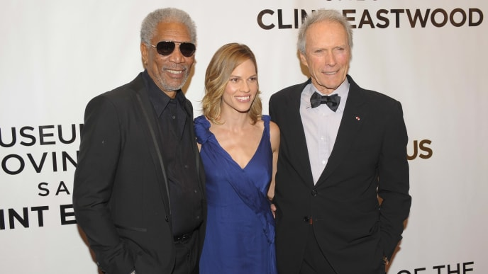 """Million Dollar Baby"" stars Morgan Freeman, Hilary Swank, and Clint Eastwood"