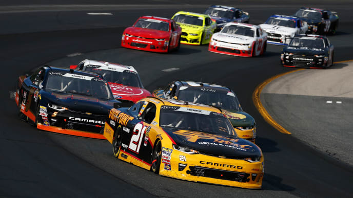 LOUDON, NH - JULY 21:  Daniel Hemric, driver of the #21 South Point Hotel & Casino Chevrolet, leads a pack of cars during the NASCAR Xfinity Series Lakes Region 200 at New Hampshire Motor Speedway on July 21, 2018 in Loudon, New Hampshire.  (Photo by Jeff Zelevansky/Getty Images)