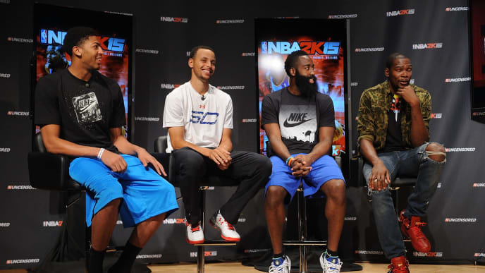 NEW YORK, NY - AUGUST 19:  (L-R) NBA 2K15 Uncensored featured NBA stars Anthony Davis, Stephen Curry, James Harden and Kevin Durant attend a roundtable discussion at Baruch College on August 19, 2014 in New York City. Visit http://www.facebook.com/NBA2K and use #2KUncensored to keep the conversation going. NBA 2K15 releases October 7, 2014.  (Photo by Brad Barket/Getty Images for 2K)