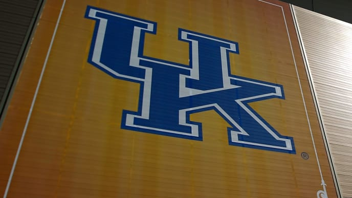 NEW ORLEANS, LA - MARCH 30:  A general view of the Kentucky Wildcats logo on the exterior of the Mercedes-Benz Superdome during practice prior to the 2012 Final Four of the NCAA Division I Men's Basketball Tournament on March 30, 2012 in New Orleans, Louisiana.  (Photo by Chris Graythen/Getty Images)
