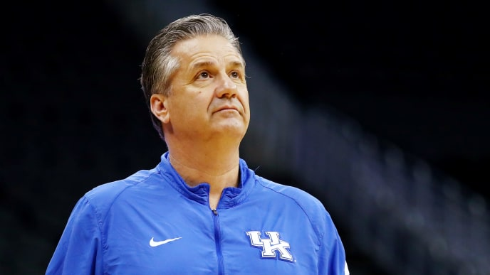 KANSAS CITY, MISSOURI - MARCH 28: Head coach John Calipari of the Kentucky Wildcats looks on during a practice session ahead of the 2019 NCAA Basketball Tournament Midwest Regional at Sprint Center on March 28, 2019 in Kansas City, Missouri. (Photo by Tim Bradbury/Getty Images)
