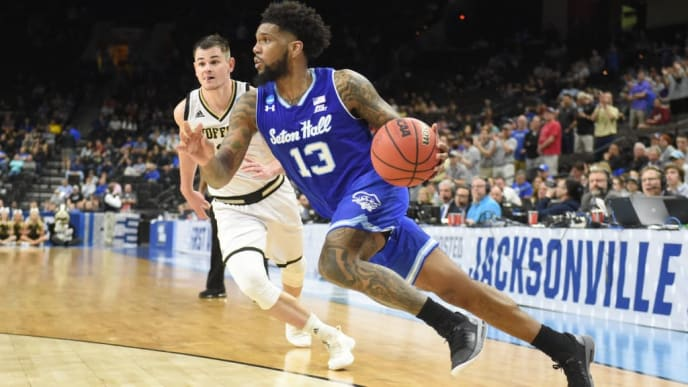 JACKSONVILLE, FL - MARCH 21: Myles Powell #13 of the Seton Hall Pirates dribbles the ball during the First Round of the NCAA Basketball Tournament against the Wofford Terriors at the VyStar Veterans Memorial Arena on March 21, 2019 in Jacksonville, Florida. (Photo by Mitchell Layton/Getty Images)