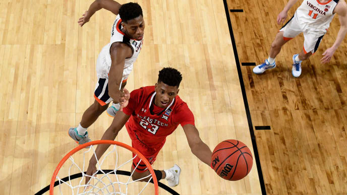 MINNEAPOLIS, MINNESOTA - APRIL 08:  Kody Stattmann #23 of the Virginia Cavaliers attempts a shot against De'Andre Hunter #12 of the Virginia Cavaliers during the 2019 NCAA men's Final Four National Championship game at U.S. Bank Stadium on April 08, 2019 in Minneapolis, Minnesota. (Photo by NCAA Photos - Pool/2019 Getty Images)