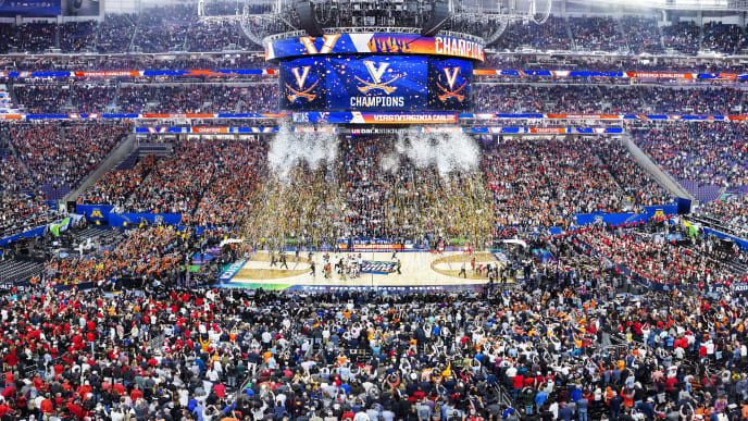 MINNEAPOLIS, MN - APRIL 08: (EDITORS NOTES: This is a panoramic stitched from separate photos) The Virginia Cavaliers celebrate their teams 85-77 win over the Texas Tech Red Raiders to win the 2019 NCAA men's Final Four National Championship game at U.S. Bank Stadium on April 8, 2019. (Photo by Chris Gjevre/Blakeway World Panoramas/Getty Images)