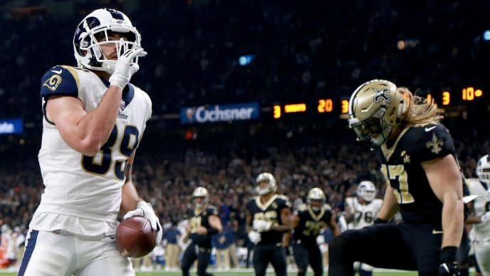 NEW ORLEANS, LOUISIANA - JANUARY 20: Tyler Higbee #89 of the Los Angeles Rams celebrates after scoring a touchdown against the New Orleans Saints during the third quarter in the NFC Championship game at the Mercedes-Benz Superdome on January 20, 2019 in New Orleans, Louisiana. (Photo by Jonathan Bachman/Getty Images)